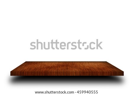 Empty top wooden shelves on white background. For product display #459940555