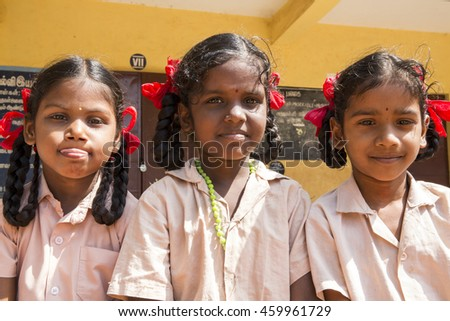 Documentary image. Pondicherry, Tamil Nadu,India - May 12 2014. School students in school, out school, in groups, with uniforms. In government school #459961729