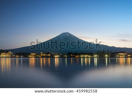 Mt. Fuji at Lake Kawaguchi after sunset, Japan, long exposure  #459982558