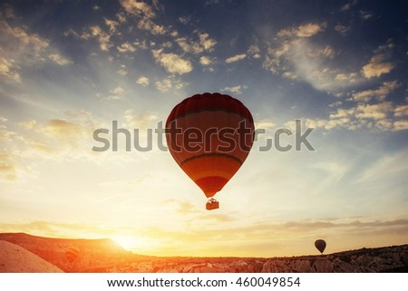Colored ball in the sky at sunset. Cappadocia Turkey. #460049854