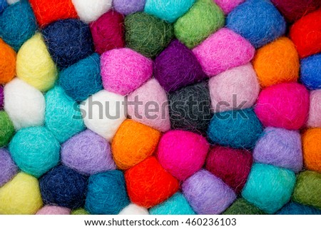 Colorful balls of wool. Colorful felt balls. Dried balls of wool. Colored beads. Felt handmade. Potholder with colorful beads. #460236103