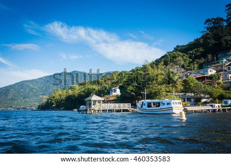 Boat on the lake. Costa da Lagoa. Lagoa da Conceicao, Florianopolis, Brazil. #460353583