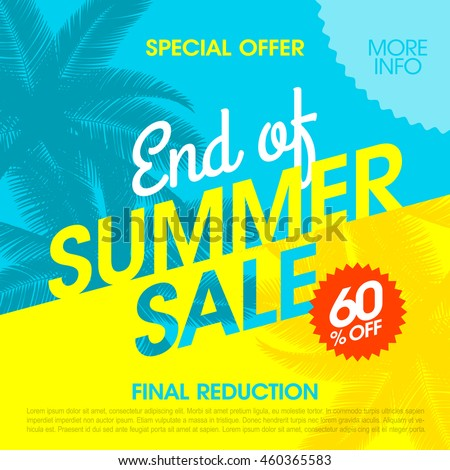 End Of Summer Sale banner design template Royalty-Free Stock Photo #460365583