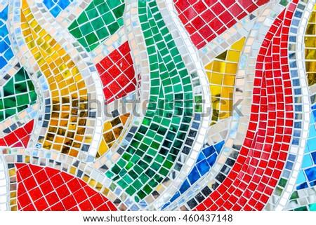 Art mosaic glass or seamless glass mosaic on the wall, glass mosaic background.