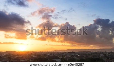 Sunrise sky and cloudscape with golden light for background #460640287