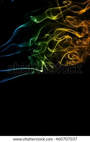 movement of smoke, Abstract blue and orange smoke on black background, smoke background,blue and orange ink background, blue and orange fire #460707037