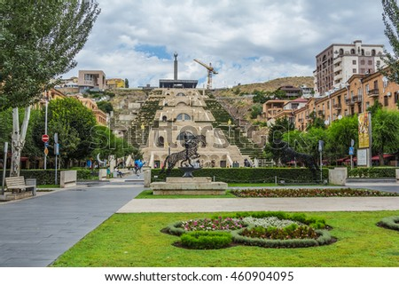 CASCADE  IN YEREVAN, ARMENIA - JULY 11, 2016:  a giant stairway with fountains and sculptures. #460904095