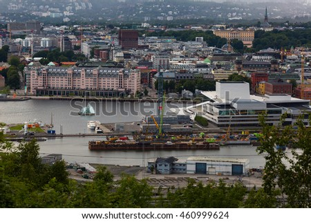 OSLO, NORWAY-JULY 5: Top view of Oslo city July 5, 2016 in Oslo, Norway. Oslo view from the tourist camping on the hill. #460999624
