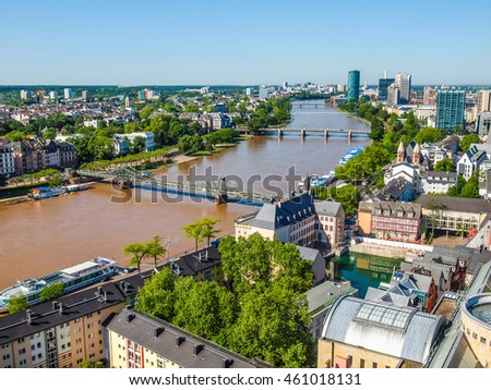 High dynamic range HDR Aerial view of the city of Frankfurt am Main in Germany #461018131