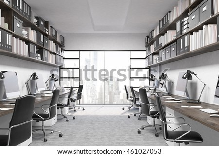 New York office interior. City seen through window. Computers on desks. Binders, folders and boxes on shelves above working places. Concept of productive work. 3d rendering.  #461027053