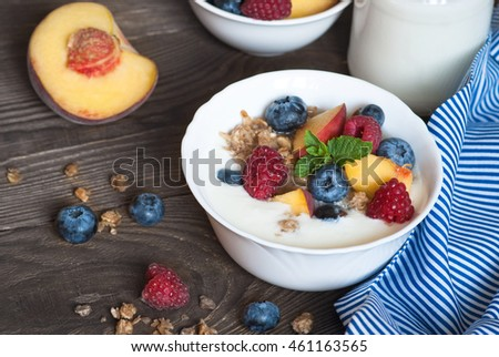 Yogurt with Granola  and fresh berries on  wooden table. Healthy breakfast. #461163565