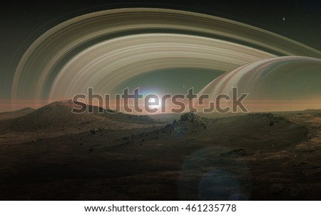 View of Saturn from Titan. Elements of this image furnished by NASA Royalty-Free Stock Photo #461235778