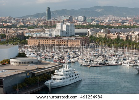 JUNE 18, 2011 - BARCELONA, SPAIN: Aerial view of Barcelona city port #461254984