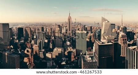 New York City skyscrapers rooftop urban view. #461267533
