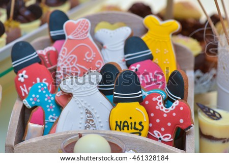 Colourful different shaped gingerbread for candy bar #461328184