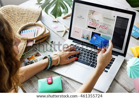Summer Beach Holiday Online Shopping Concept Royalty-Free Stock Photo #461355724