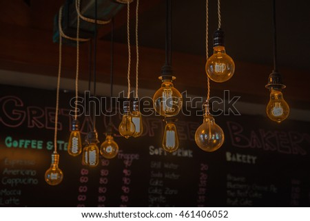 Light bulb in Metal lighting in the coffee shop #461406052