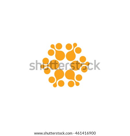 Abstract vector circle logotype. Orange unusual isolated chemistry logo. Virus icon. Orange sunny sun. Flower. #461416900