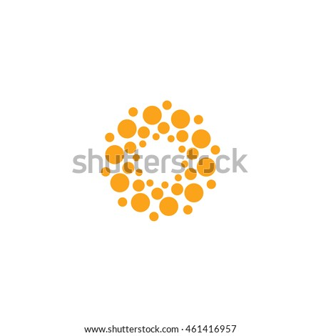 Abstract vector circle logotype. Orange unusual isolated chemistry logo. Virus icon. Orange sunny sun. Flower. #461416957