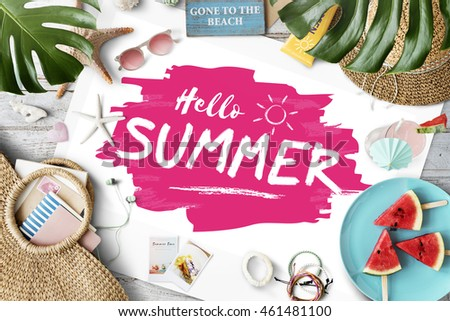 Hello Summer Travel Vacation Holiday Concept #461481100