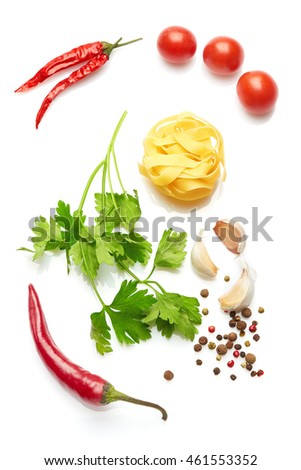 A food and healthy lifestyle concept: Italian herbs and spices. Top view. Isolated on white. #461553352