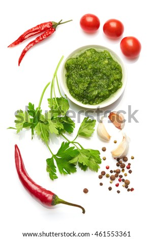 A food and healthy lifestyle concept: Italian herbs and spices. Top view. Isolated on white. #461553361