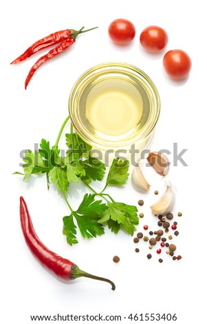 A food and healthy lifestyle concept: Italian herbs and spices. Top view. Isolated on white. #461553406