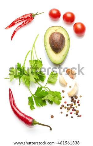 A food and healthy lifestyle concept: Italian herbs and spices. Top view. Isolated on white. #461561338