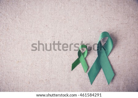 Green Ribbons copy space toning background, cancer awareness, Liver, kidney cancer awareness,Glaucoma Awareness #461584291