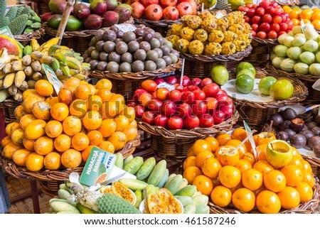 Fresh exotic fruits in Mercado Dos Lavradores. Funchal, Madeira #461587246