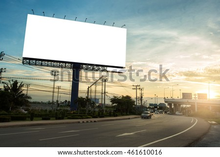 billboard blank for outdoor advertising poster or blank billboard at sunset time for advertisement. #461610016