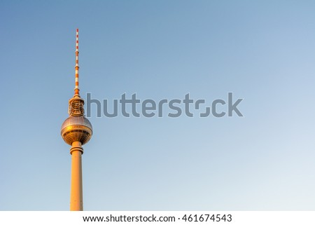 The TV Tower (Fernsehturm) during sunset in Berlin, Germany #461674543