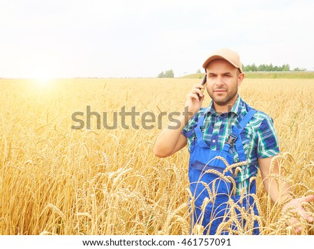 Farmer in a plaid shirt controlled his field. Talking on the phone. Wheat harvest. Agriculture. #461757091