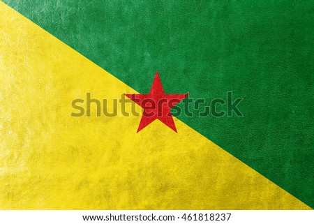 Flag of French Guiana, France, painted on leather texture #461818237