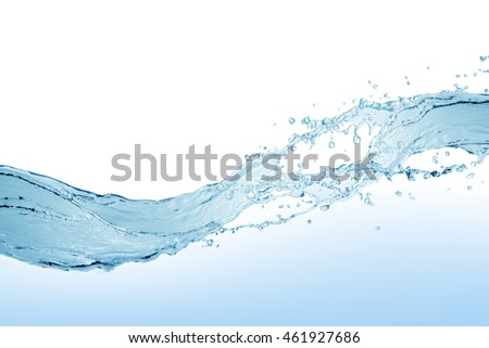 Water,blue water splash isolated on white background #461927686