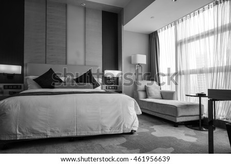 Black and white style - Hotel room or bedroom Interior. hotel concept. #461956639