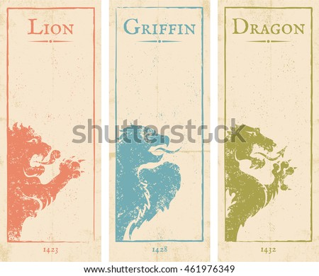 Vector set vintage posters with lion, griffin and dragon #461976349