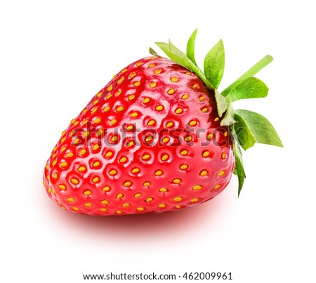 ripe strawberries isolated on white background clipping path #462009961
