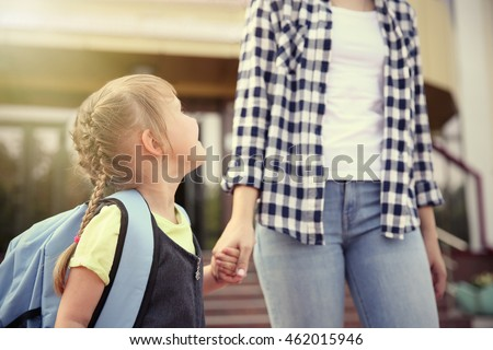 Mother taking daughter to school #462015946
