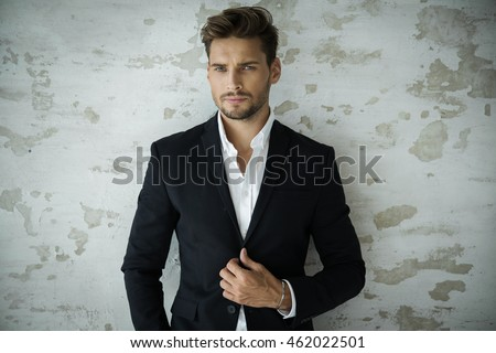 Portrait of sexy man in black suit #462022501