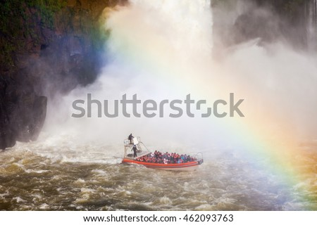 Boat near the Iguazu Falls (Cataratas del Iguazu), waterfalls of the Iguazu River on the border of the Argentina and the Brazil. #462093763