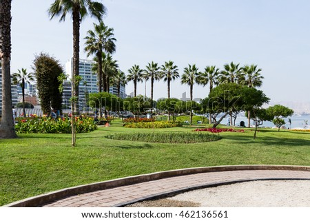 Miraflores, Lima - May 10 : Beautiful landscaping in el parque del Amor (love park) with views of the ocean and City, Lima. May 10 2016 Miraflores, Lima Peru. #462136561