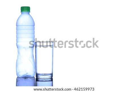 Clean Drinking Water. white background A cold bottle of water  #462159973