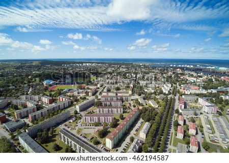 Aerial view of Ventspils city and port, Latvia. #462194587