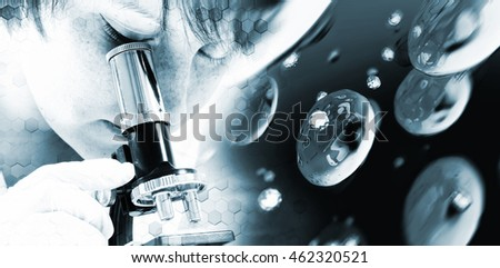 Abstract background science and hexagons. Young female scientist using a microscope #462320521