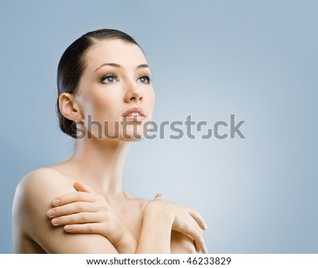 beauty girl on the blue background #46233829