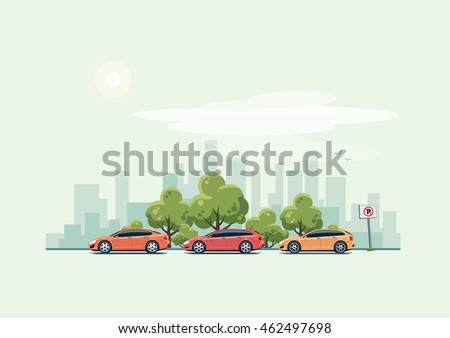 Vector illustration of modern cars parking along city street with green trees in cartoon style. Hatchback, station wagon and sedan parked on wrong place. City skyline on green turquoise background. Royalty-Free Stock Photo #462497698