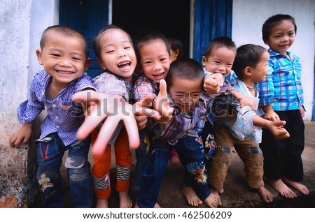 "HAGIANG, VIETNAM - SEPTEMBER 17 : ""Hmong"" children enjoy in school at Hagiang, the north province of Vietnam in Sep. 17, 2015. ""Hmong"" is hill tribes that live on the high mountain. #462506209"