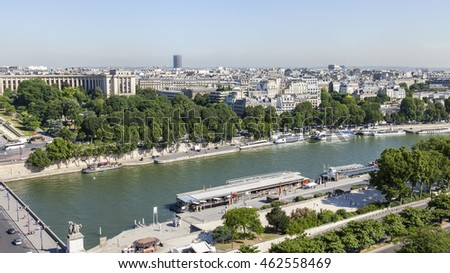 PARIS, FRANCE, on JULY 7, 2016. A view of the city from above from the survey platform of the Eiffel Tower. River Seine and its embankments #462558469