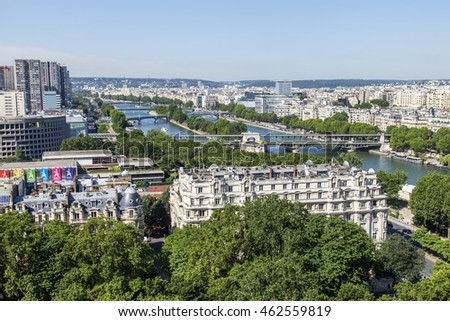 PARIS, FRANCE, on JULY 7, 2016. A view of the city from above from the survey platform of the Eiffel Tower. River Seine its embankments and bridge #462559819